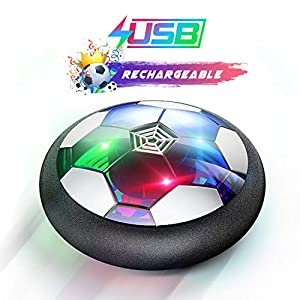 WisToyz Kids Toys Hover Soccer Ball Rechargeable Air Soccer, Soccer Ball Indoor Floating Soccer with LED Light and Foam…