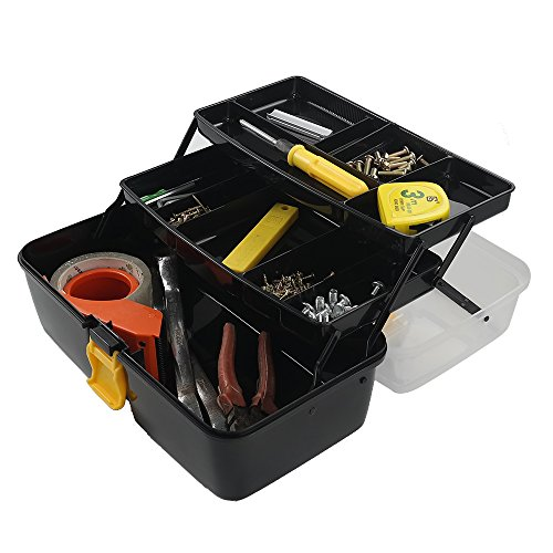 Pekky Plastic Toolbox with 2-Tote Trays - Clear Lid