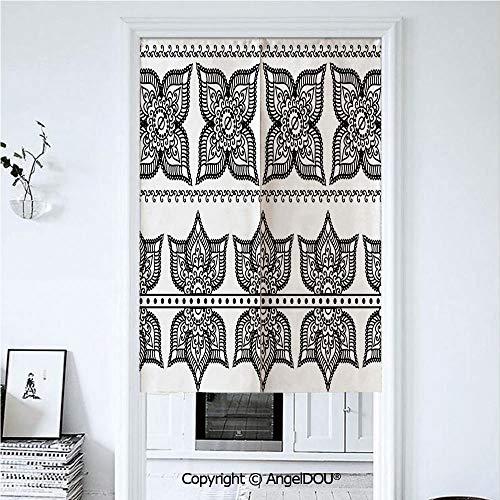 AngelDOU Henna Printed Good Fashion Fun Door Curtains Antique Border Designs with -