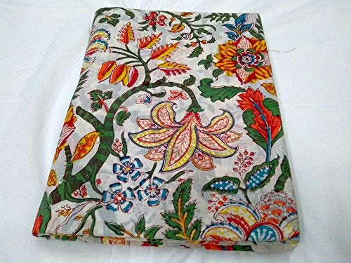 - 5 Yard Cotton Cotton Floral Print Fabric by Yard,Indian Natural Dyes Sanganeri Cotton Fabric Hand Block Printed Handmade Cotton Fabric Craft-View-457