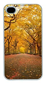 iphone 4 crazy case Landscapes yellow trees PC White for Apple iPhone 4/4S