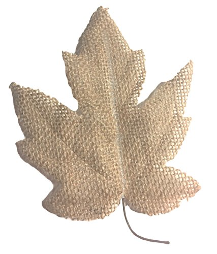 Tan Burlap Leaves with Wire Stem, Maple, Oak,16 pcs, Garlands, Wreaths, Bouquets, Fall Arrangements, Country Wedding decor, Candle rings, swags, gift embellish, banners, gift bags ()