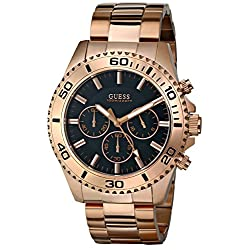 GUESS Men's U0170G3  Sporty Black Dial Rose Gold-Tone Chronograph Watch