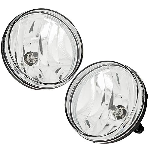 (For 2007 2008 2009 2010 2011 2012 2013 GMC Sierra Pickup Bumper Driving Fog Lights Lamps Left+Right Replacement Pair + Bulbs(Clear Lens))