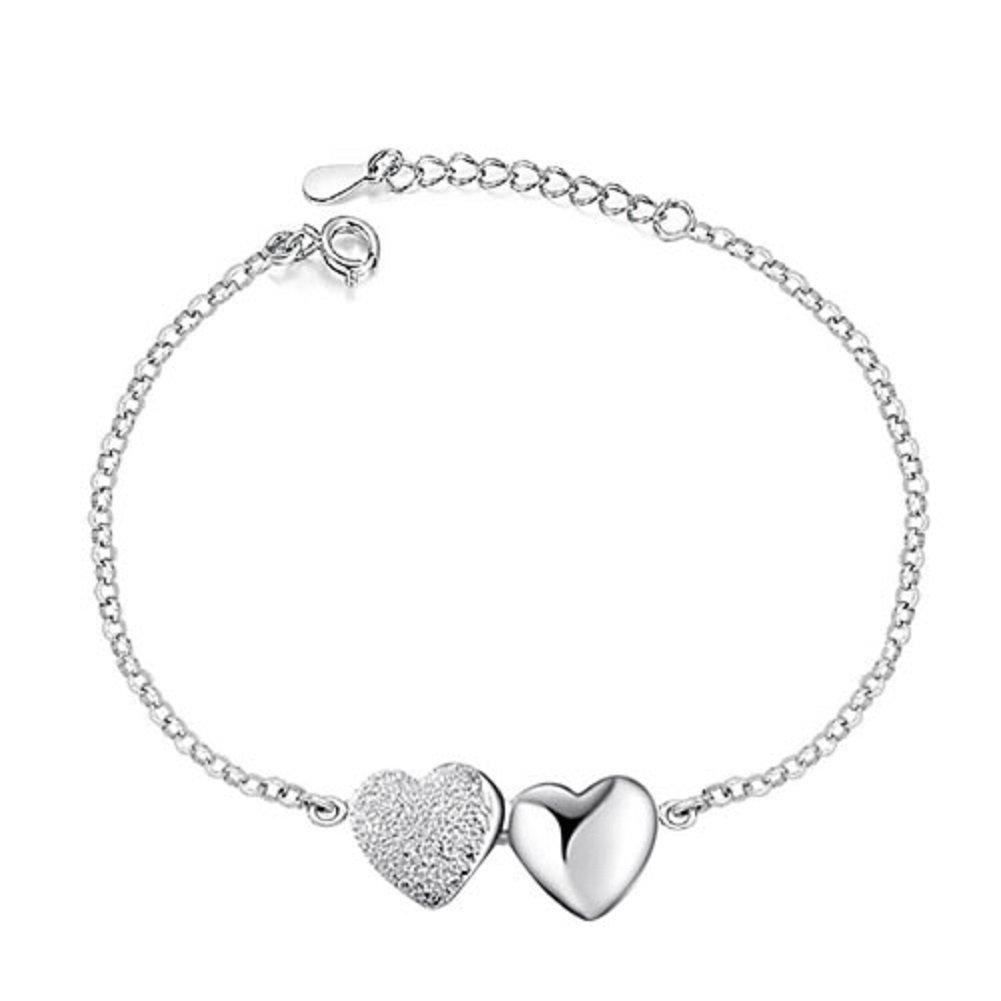 Corykeyes 925 Sterling Silver Double Heart Bracelet For Women Girls (Double Heart)