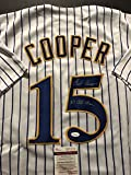 """Autographed/Signed Cecil Cooper """"5x All Star"""" Milwaukee Brewers Pinstripe Baseball Jersey JSA COA"""