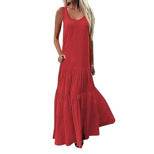 d76d4434c4 Summer Women's Sleeveless Maxi Dresses Boho Split Beach Party Wedding  Sundress Long Swing Dress (Red