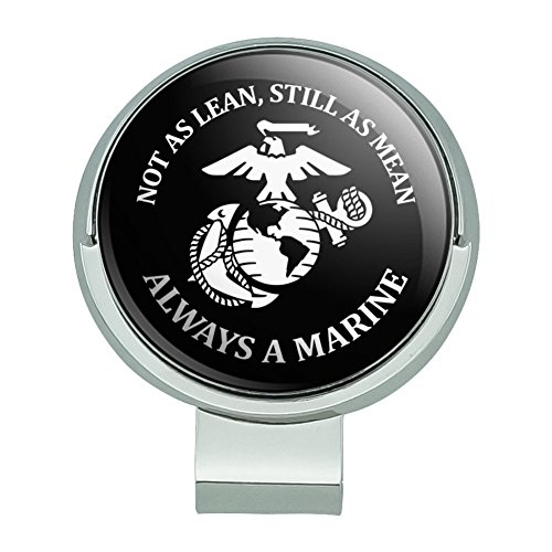 Graphics and More Not as Lean Still as Mean Always a Marine USMC White Black Officially Licensed Golf Hat Clip with Magnetic Ball Marker