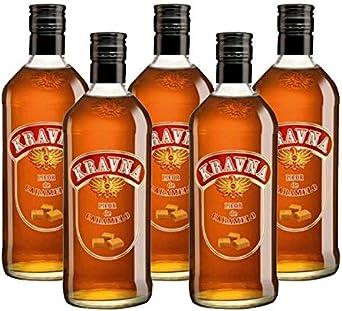 Vodka Kravna Caramelo de 70 cl - Bodegas Grupo Estevez (Pack de 5 botellas): Amazon.es: Alimentación y bebidas