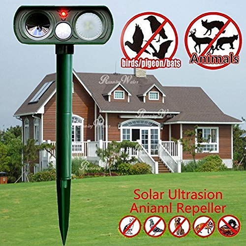 Lubatis Solar Animal Repeller Outdoor Ultrasonic Cat Repellent with LED Flashlight Animal Driven Device Dog Repellent PIR Sensor Motion Activated Deterrent - Repel Dogs Cats Squirrels Deer Birds Wild