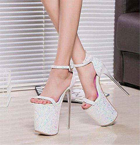 da 35 paillettes 41 GAOGENX a EU41 Festa donna Scarpe Tacco pompa Club Vestito piattaforma caviglia Cinturino alla a spillo Dimensione da 44qTta