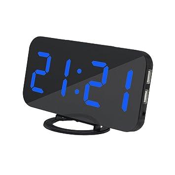 non-brand Sharplace LED Reloj de Despertador Digital de Mesa con Puerto de Carga USB Dual para Cargador de Teléfono Móvil - Azul: Amazon.es: Hogar