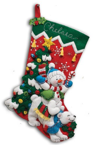 Bucilla 18-Inch Christmas Stocking Felt Applique Kit, 86358 Polar Bear