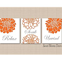 Floral Bathroom Décor Orange Gray Bathroom Wall Art Modern Bathroom Décor Relax Soak Unwind UNFRAMED set of 3 PRINTS (NOT CANVAS)