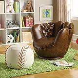 Brand New 32.5''x 32.5''x 27.5''H Baseball Glove Chair And 17'' Dia.x 13''H Baseball Ottoman Set