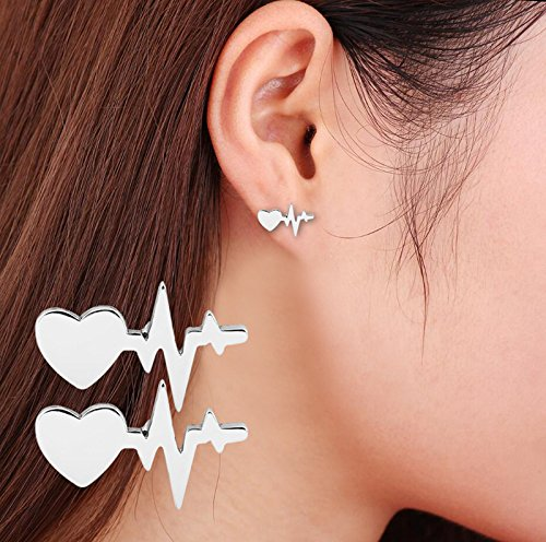 Huangiao Stud Earrings ECG Stud Earrings Stud Earrings Current Lightning Stud Earrings Heart Love Stud Earrings (Silver) ()