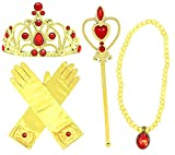 Princess Dress up Party Accessories - 3 Piece Gift Set: Gloves, Tiara and Wand (Yellow/Red)