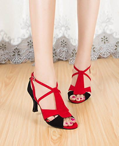 Miyoopark Womens T-strap Suede Latin Tango Ballroom Salsa Dance Shoes Peep Toe Wedding Sandals Red/Black-7.5cm Heel t3B9xE3NH5