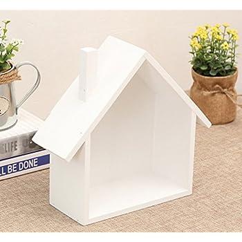 Skyseen 1PCS House-Shaped Wall Mounted & Tabletop Multipurpose Storage Box Holder Wooden Grocery Organizer Mini Flower Pot Shelf Rack(White)
