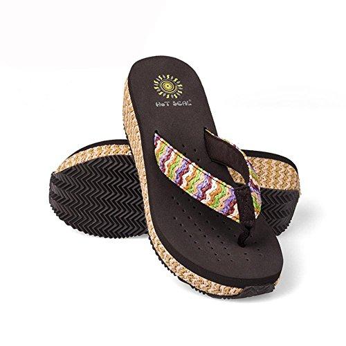 Grace Scarpe Donna Zeppa Flip Flip Sandali di Svago Boemia Più Colori tra cui Scegliere, 5264 Brown, 35