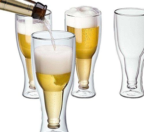 - Maxxo Double Wall Upside down Bottoms up Bottle Beer Glass, 12oz/350ml