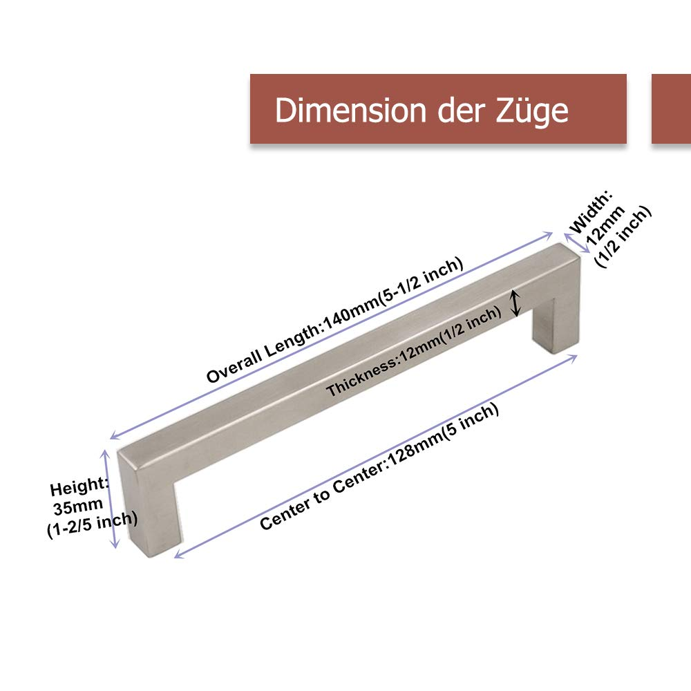 Tirador Goldenwarm/® de acero inoxidable cepillado para armario caj/ón ancho del tubo 12/mm x 12/mm cocina