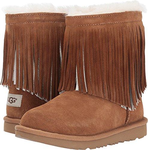 Chestnut Boots Ugg Classic Short (UGG Big Kids Classic Short II Fringe Boot Chestnut Size 6 Big Kid M)