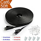 Ethernet Cable Black Flat 50 ft Cat 6 with RJ45 Connector - Thin Slim Fast Internet Network Computer Copper Cord for Video Gaming 4K Movie PS3 PS4 xBox Printer - Cat5e Price Cat6 Speed - 50' Feet 15M