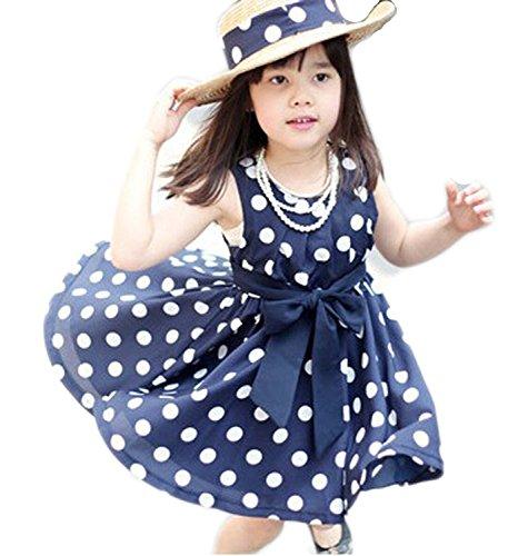 Metee Dresses Girls Blue Chiffon Polka Dot Sundress Dress Bow Tie(XXL, 6-7 Years)