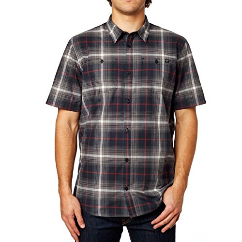 Fox Racing Mens Resistance Woven Button Up Short-Sleeve Shirt Large Graphite