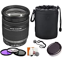 Canon EF-S 18-200mm f/3.5-5.6 IS Standard Zoom Lens for Canon DSLR Cameras + Pouch + Filter Kit + Accessory Bundle