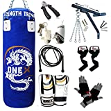 Heavy Filled 17 Piece 3ft Boxing Punch Bag Set Gloves Bracket Chains MMA Pad