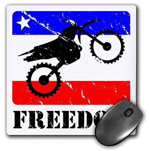 3dRose Distressed dirt bike graphic, freedom text, red, white, blue - Mouse Pad, 8 by 8 inches (mp_180540_1) (Graphic Dirt)