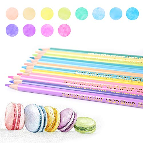 12 Macaron Colors watercolor pencils - Water Soluble Pre-sharpened Wooden Colored Pencil Set for Adults Coloring Books Drawing Sketching Art Supplies, No Duplicates