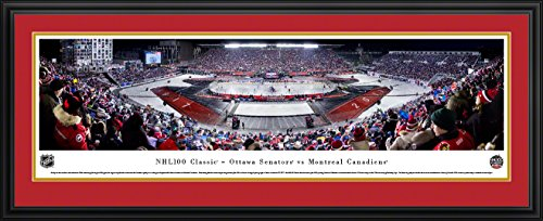 NHL 100 (Senators vs Canadiens) - 44x18-inch Deluxe Framed Picture with Senators Mat by Blakeway Panoramas