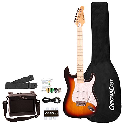 Sawtooth ES Series ST Style Electric Guitar Beginner's Pack, Sunburst with Pearl White Pickguard