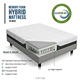 LUCID 10 Inch Queen Hybrid Mattress - Bamboo Charcoal and Aloe Vera Infused Memory Foam - Moisture Wicking - Odor Reducing - CertiPUR-US Certified