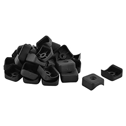 SLB Works Plastic Home Office Square Furniture Foot Leg Protector Cover Mat Pipe Tube Insert 30pcs Black