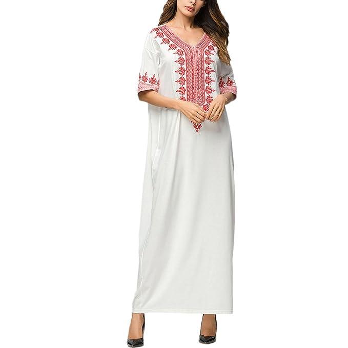 Zhhlaixing Estilo Nacional Bordado Togas De Las Mujeres Media Manga  Musulmanes Kaftan Abaya Cuello en V Maxi Vestidos Muslims Dresses   Amazon.es  Ropa y ... ffe58848d5aa