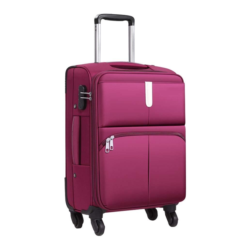 スーツケース 旅行スーツケース厚いフレームトロリーケースオックスフォード布防汚簡単にきれいにしてパープルブラック2色20(35 * 24 * 57) (色 : 紫の, サイズ さいず : 20(35*24*57)) B07RZ9QYMM 紫の 20(35*24*57)