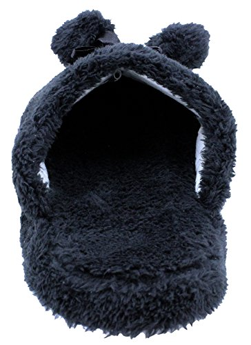 Slip Fuzzy Footbed Padded Enimay Shoes Women's House Loafers On Black Slippers Soft nvOv4qI