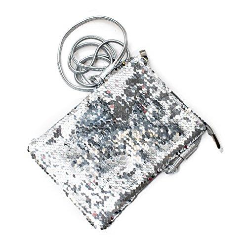Kandharis Damen Umhängetasche Schultertasche Riemen Minibag Minitasche mit Wende Pailletten Glitzer Wendepailletten CrossOver Tasche GB-15 Silber utj6aufEd