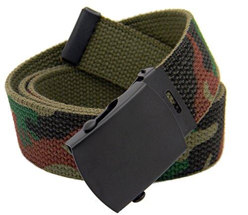 Mens Black Slider Military Belt Buckle with Canvas Web Belt