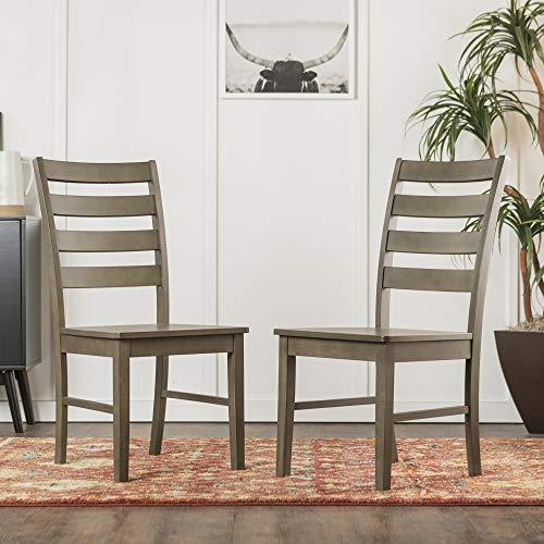 WE Furniture Modern Farmhouse Wood Kitchen Dining Chair, Set Of 2, Aged Grey