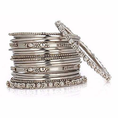 Efulgenz Boho Vintage Antique Ethnic Gypsy Tribal Indian Oxidized Silver Plated Bracelet Bangles Set Jewelry (20 pc) (Vintage Jewelry Silver)
