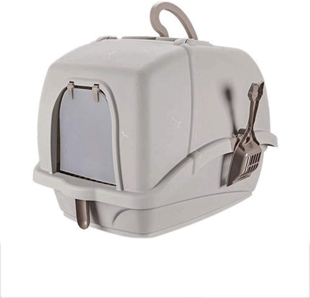完全に囲まれた猫のトイレ猫砂鍋供給抗スペースペットのトイレペット用品ペットの猫のトイレトイレ (Color : Gray)
