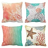 Emvency Set of 4 Throw Pillow Covers Watercolor Coral Blue Aqua Orange and White Splash Reef Modern Decorative Pillow Cases Home Decor Square 18x18 Inches Pillowcases