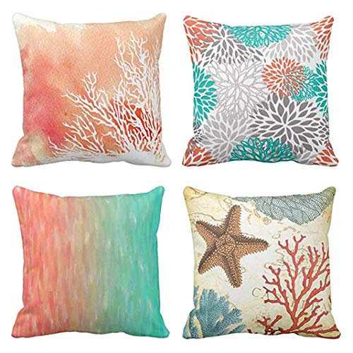 Emvency Set of 4 Throw Pillow Covers Watercolor Coral Blue Aqua Orange and White Splash Reef Modern Decorative Pillow Cases Home Decor Square 16x16 Inches - Aqua Coral