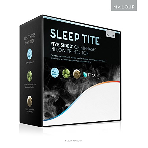 SLEEP TITE FIVE-5IDED Hypoallergenic Pillow Protector Set With OMNIPHASE and TENCEL - 100% Waterproof - Regulates Temperature - 15-Year U.S. Warranty - Vinyl Free - Queen Pillow Protector - Set of 2