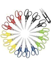 Scissors,8 Inch Paper Scissors Soft Comfort-Grip Handles & Stainless Steel Sharp Blades Perfect Scissors for Cutting Paper, Scissors for Fabric Photos, 15 Pack Office Scissors & Sewing Scissors